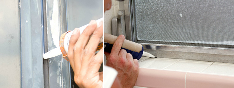 обработка щелей у окна пеной, герметиком
